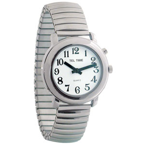 Unisex Tel-Time Chrome One Button Talking Watch wi