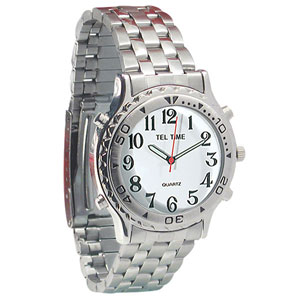 Mens Tel-Time Chrome Talking Watch with White Dial