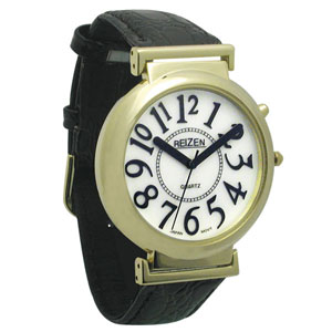 REIZEN Watch with White Face and Illuminated Face